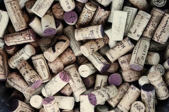 Rolhas de vinho usados