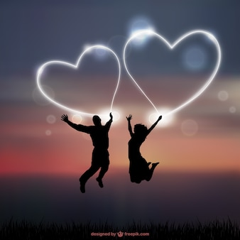Casal silhuetas românticas