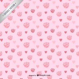 Rosas e corações padrão