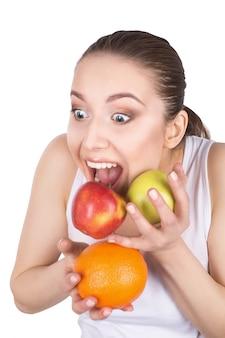 Rosto vegetariano verão saudável positivo