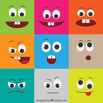 Rostos coloridos com expressões diferentes