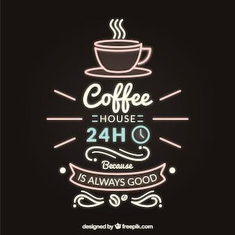Rotulação de café retro no estilo de néon