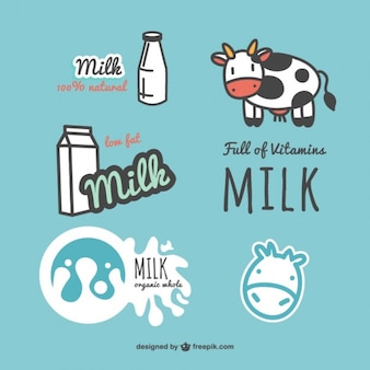 Rótulos de leite definido