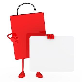 Saco de compra vermelho segurando uma placa em branco