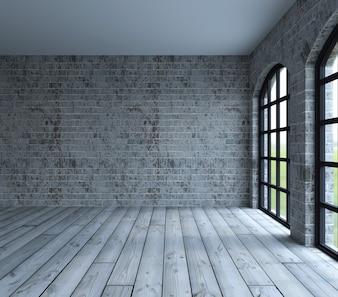 Sala com grandes janelas