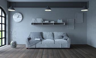 Sala de estar com um sofá