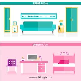 Sala de estar e quarto de menina