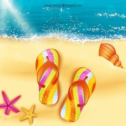 Sandálias na areia