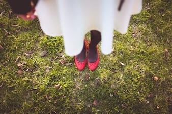 Sapatos vermelhos vista superior