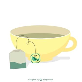 Saquinho de chá e um copo vector