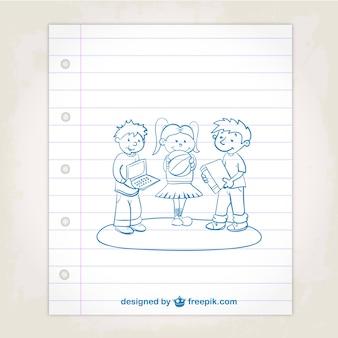 Crianças em idade escolar doodle