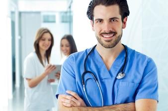 Scrubs, laboratório, olhar, trabalhadores, saúde
