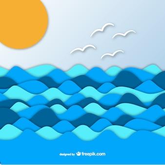 Mar no fundo de papel gráfico