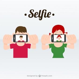 Ilustração vetorial selfie