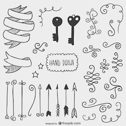 Setas desenhadas, chaves e outros objectos de ornamentação
