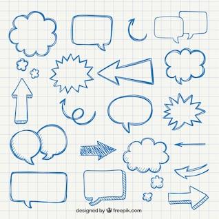 Setas desenhadas mão e balões de fala