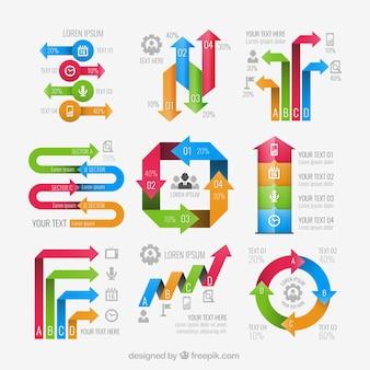 Setas elementos infográfico