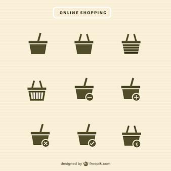 Coleção dos ícones carrinho de compras