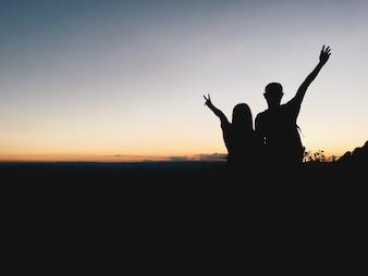 Silhouette, casal, montanha