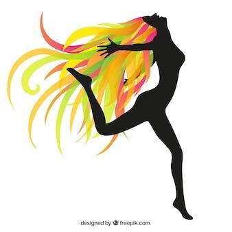 Silhueta de uma mulher feliz com cabelo colorido