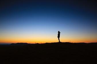 Silhueta ao pôr do sol