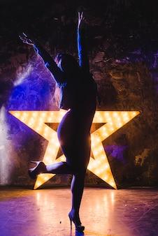 Silhueta atrativa da mulher na estrela