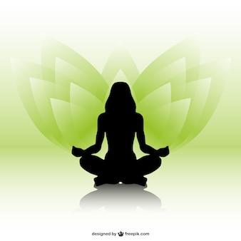Silhueta da mulher vetor yoga