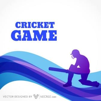Silhueta de um batedor de críquete em jogar ação