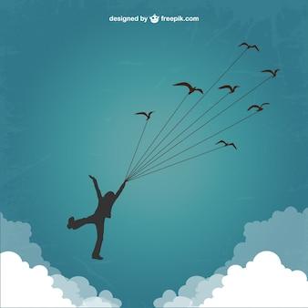 Silhueta do menino voando com os pássaros