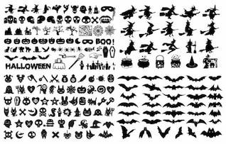silhueta halloween coleção do vetor elementos