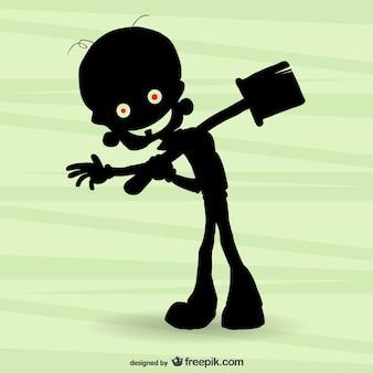 Silhueta zombi dos desenhos animados