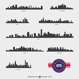 Silhuetas cidades americanas de vetores