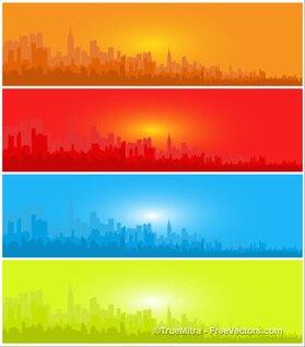 Silhuetas da cidade de em quatro banners
