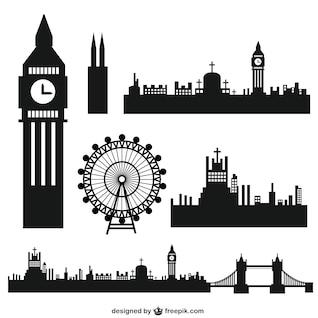 Silhuetas da cidade de Londres