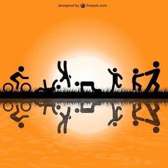 Silhuetas de pessoas exercer no parque vvector