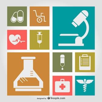 Símbolos médicos ilustração plana