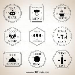 Símbolos retro restaurante definidos
