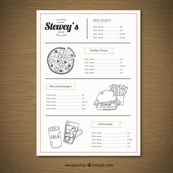 Sketchy menu de fast food