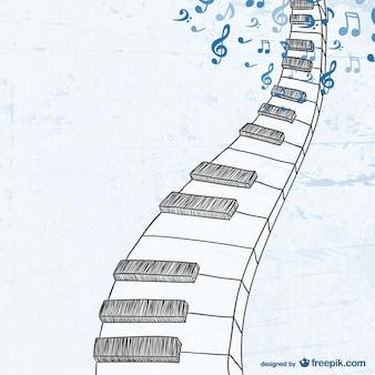 Teclado de piano esboçado
