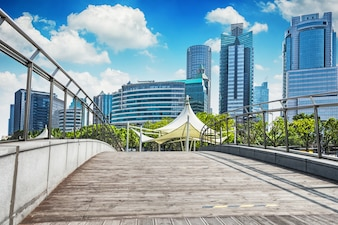 Skyline, cityscape, negócio, luz, financeiro