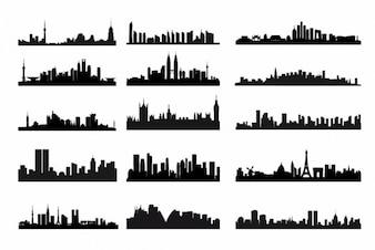 Skyline da cidade silhuetas vetor kit