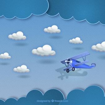 Pequeno avião voando nas nuvens