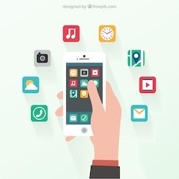 Smartphone em design plano