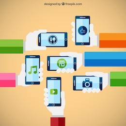 Smartphones conceito de tecnologia