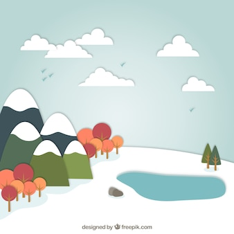Paisagem nevado em estilo cartoon