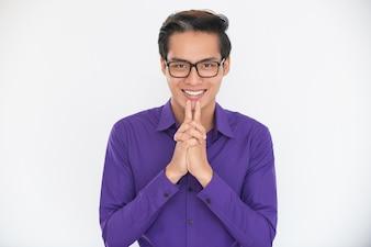 Sorrindo, asiático, negócio, homem, concentrando