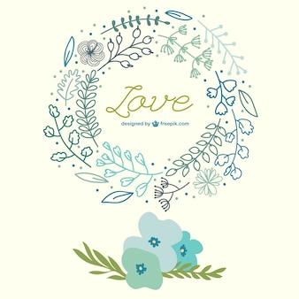 Flores da primavera mão puxado cartão de amor