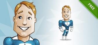 Super-herói bonito musculoso vetor dos desenhos animados