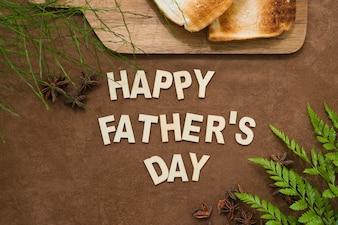 Superfície com vegetação e torradas para o dia do pai