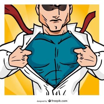 Abertura do super-herói de sua camisa